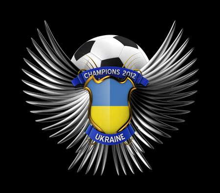 Ukraine Soccer Ball - easy to isolate over black background Stock Photo - 11866108