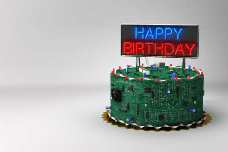geeky: Fun birthday cake for geeks with eletronic components Stock Photo