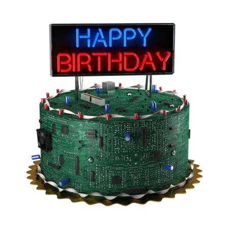 happy birthday cake: Diversi�n pastel de cumplea�os para frikis aisladas sobre fondo blanco