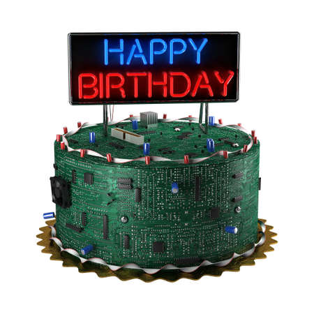 Fun birthday cake for geeks isolated over white background Stock Photo - 11938816