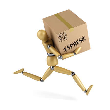 courier delivery: Wooden mannequin rushing an express delivery package to the recipient Stock Photo