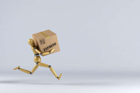 Wooden mannequin rushing an express delivery package to the addressee photo