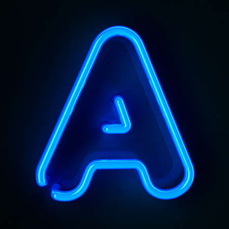 neon sign: Highly detailed neon sign with the letter A Stock Photo