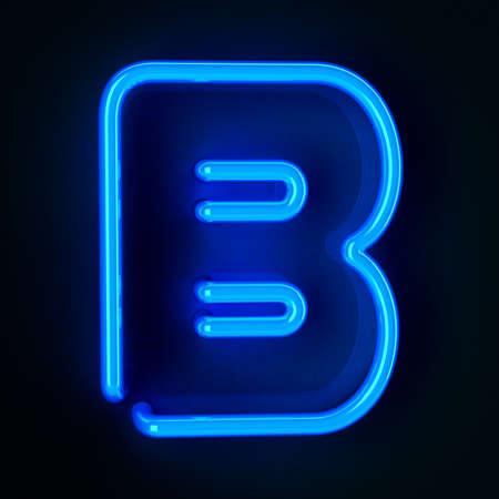 tubos fluorescentes: De neón altamente detallado cartel con la letra B Foto de archivo