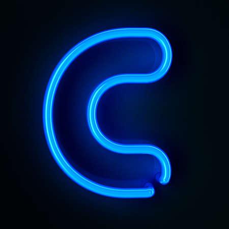 Enseigne au néon très détaillé avec la lettre C Banque d'images - 12179402