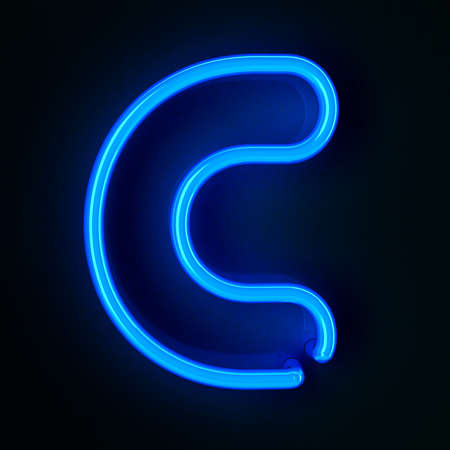 neon color: Highly detailed neon sign with the letter C Stock Photo