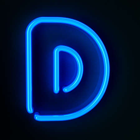 neon sign: Highly detailed neon sign with the letter D