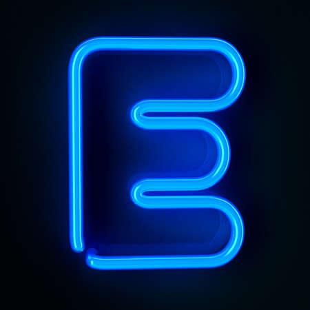 tubos fluorescentes: De ne�n altamente detallado cartel con la letra E