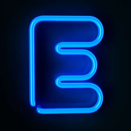 Highly detailed neon sign with the letter E photo