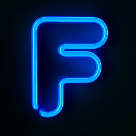 Highly detailed neon sign with the letter F photo