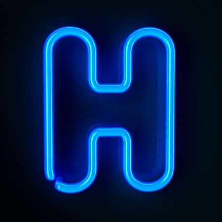 tubos fluorescentes: De ne�n altamente detallado cartel con la letra H
