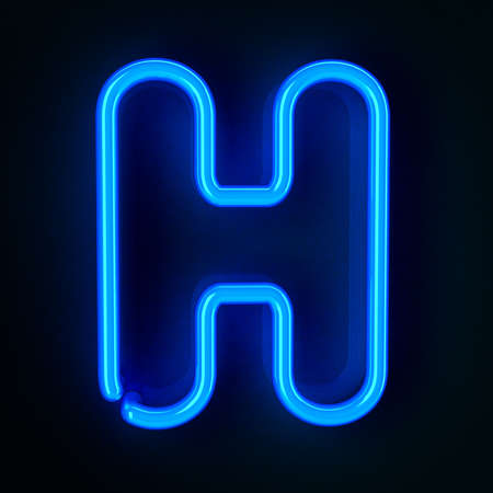 Highly detailed neon sign with the letter H photo