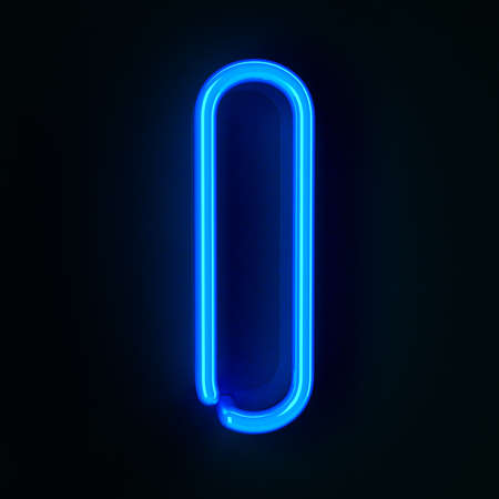 Highly detailed neon sign with the letter I photo