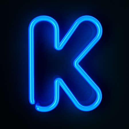 tubos fluorescentes: De neón altamente detallado cartel con la letra K