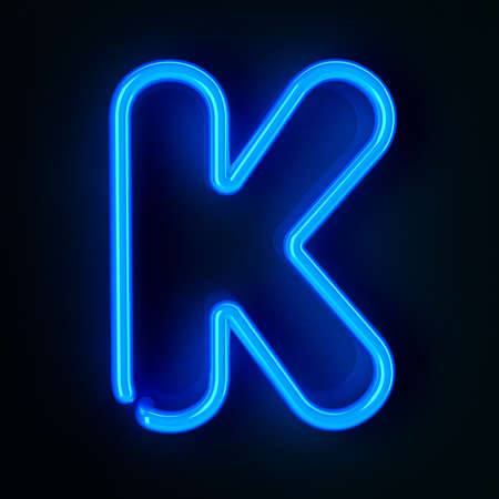 Highly detailed neon sign with the letter K photo