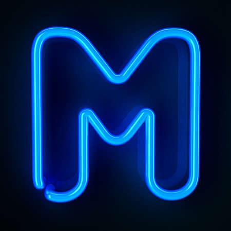 letra m: De ne�n altamente detallado cartel con la letra M