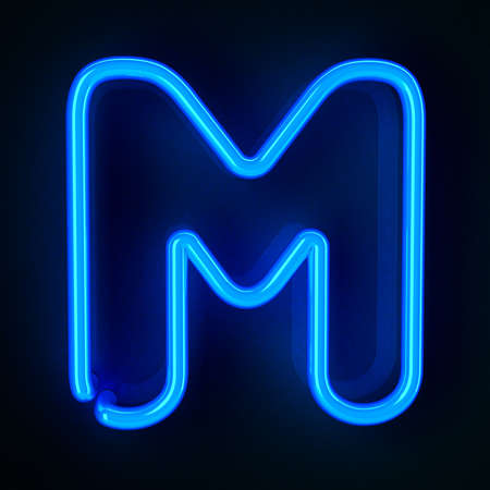 letter m: Highly detailed neon sign with the letter M