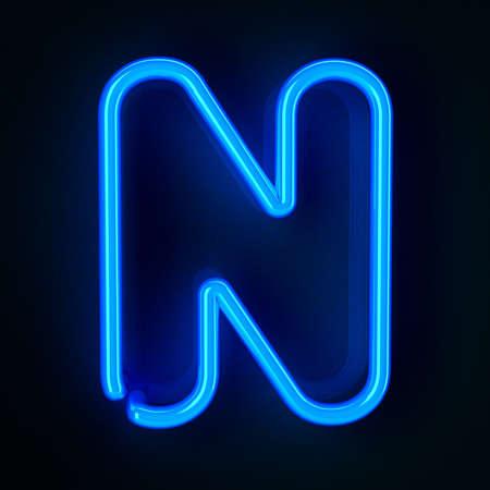 tubos fluorescentes: De ne�n altamente detallado cartel con la letra N