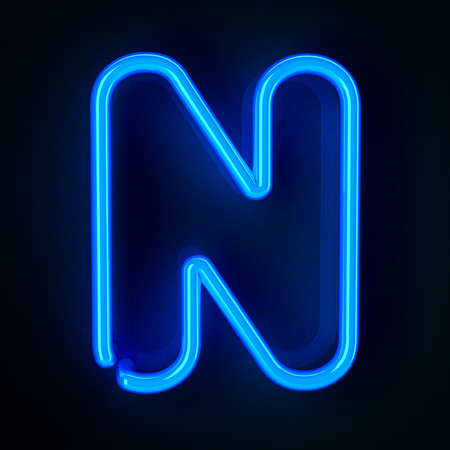 Highly detailed neon sign with the letter N photo