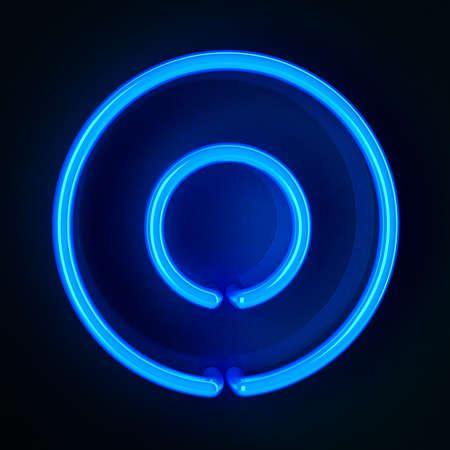 tubos fluorescentes: De ne�n altamente detallado signo con la letra O
