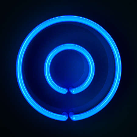 Highly detailed neon sign with the letter O photo