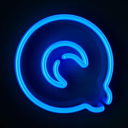 tubos fluorescentes: De neón altamente detallado cartel con la letra Q
