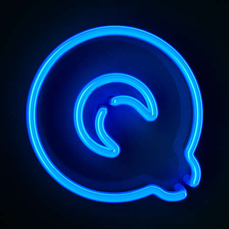 Highly detailed neon sign with the letter Q photo