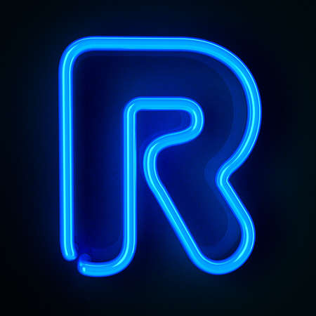 Highly detailed neon sign with the letter R Stock Photo