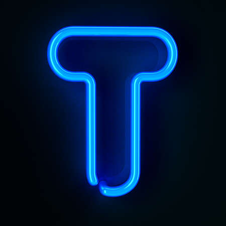 neon sign: Highly detailed neon sign with the letter T Stock Photo