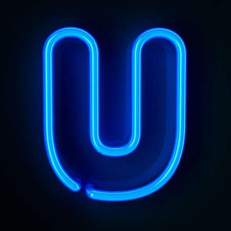 tubos fluorescentes: De ne�n altamente detallado cartel con la letra U