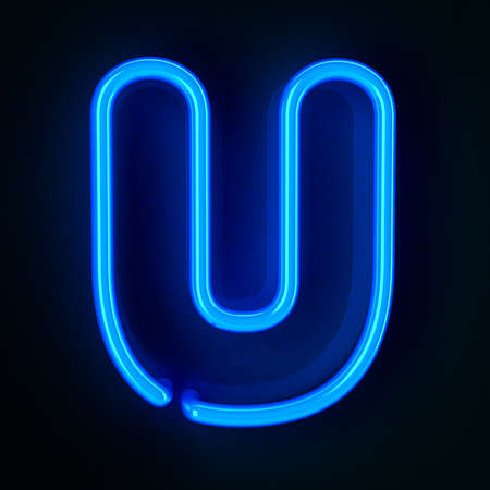 colorful light display: Highly detailed neon sign with the letter U Stock Photo