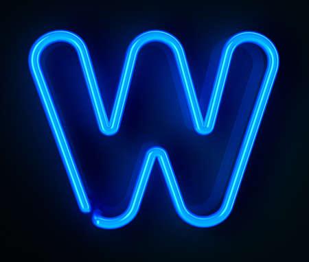 tubos fluorescentes: De ne�n altamente detallado cartel con la letra W