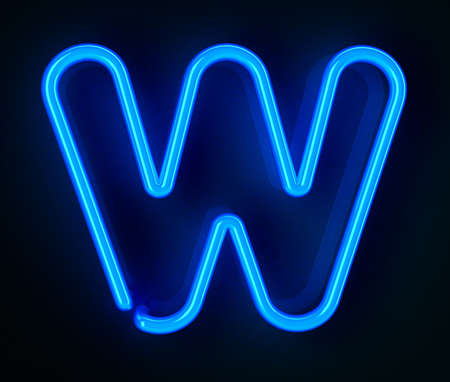 Highly detailed neon sign with the letter W photo