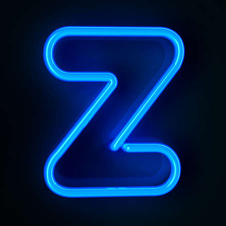 letter a z: Highly detailed neon sign with the letter Z