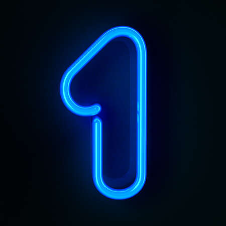 neon sign: Highly detailed neon sign with the number one