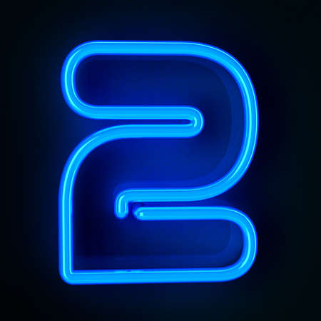 Highly detailed neon sign with the number two photo