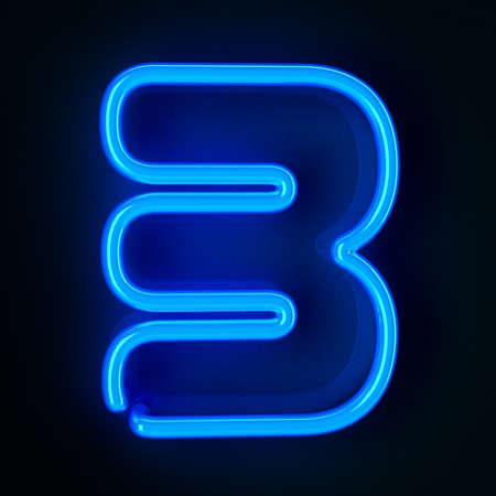 tubos fluorescentes: De neón altamente detallado cartel con el número tres