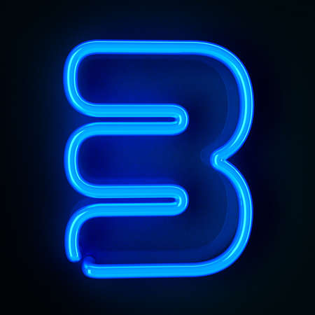 neon sign: Highly detailed neon sign with the number three Stock Photo