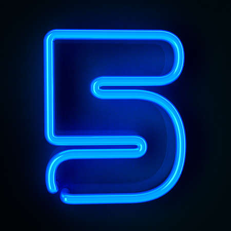 colorful light display: Highly detailed neon sign with the number five Stock Photo