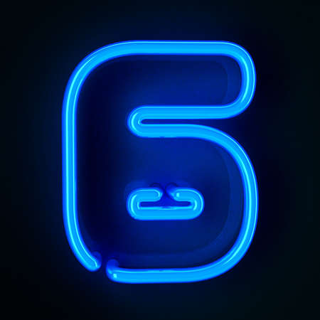 Highly detailed neon sign with the number six photo