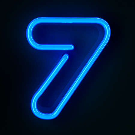 Highly detailed neon sign with the number seven photo