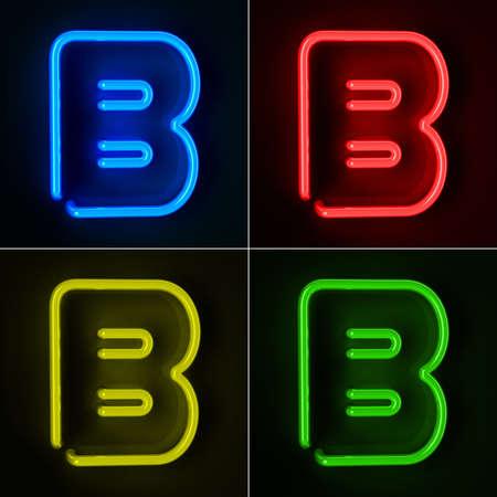 tubos fluorescentes: De neón altamente detallado cartel con la letra B en cuatro colores Foto de archivo