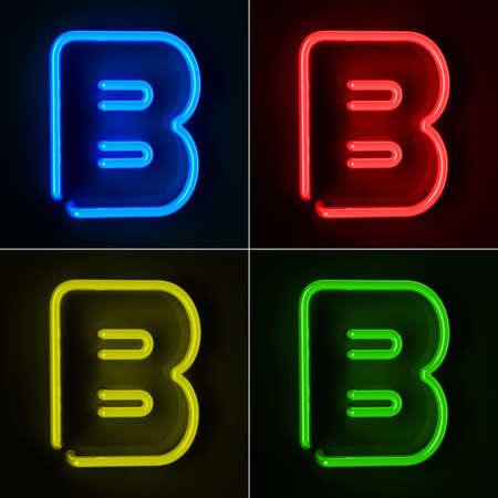 letter b: Highly detailed neon sign with the letter B in four colors