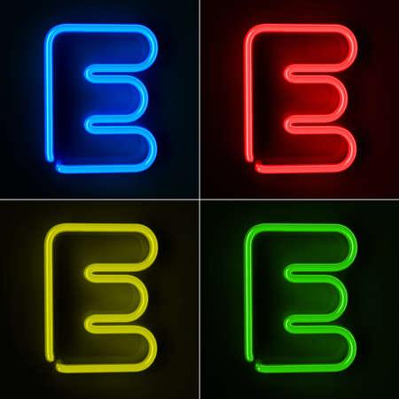 tubos fluorescentes: De neón altamente detallado cartel con la letra E en cuatro colores