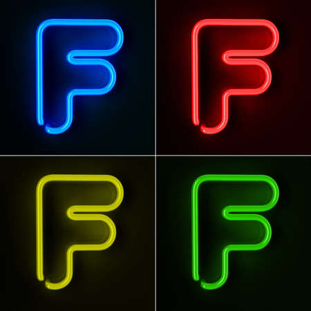 tubos fluorescentes: De neón altamente detallado cartel con la letra F en cuatro colores