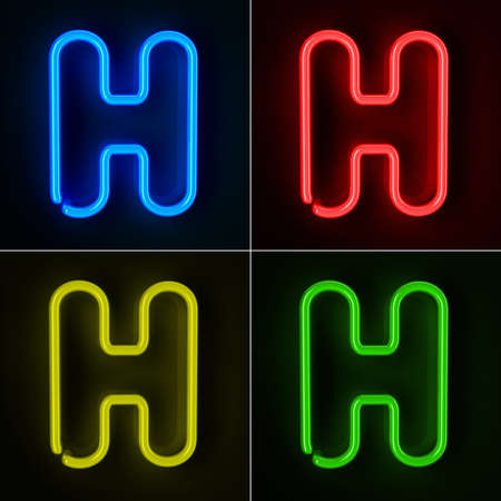 neon letter: Highly detailed neon sign with the letter H in four colors