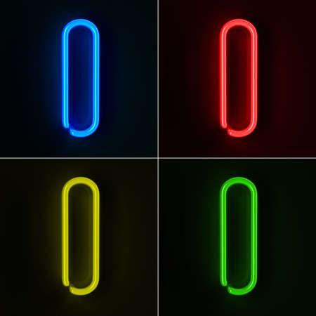 tubos fluorescentes: De neón altamente detallado cartel con la letra I en cuatro colores