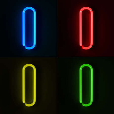 neon sign: Highly detailed neon sign with the letter I in four colors