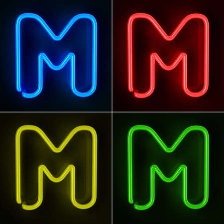colorful light display: Highly detailed neon sign with the letter M in four colors Stock Photo