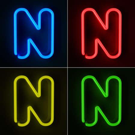 tubos fluorescentes: De ne�n altamente detallado cartel con la letra N en cuatro colores
